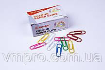 Скрепки канцелярские Jiliang разноцветные (28 мм/100 шт), скрепки для офиса, школы, дома.