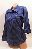 Женские рубашки в клетку с карманами оптом VSA т.синий+синий мелкая