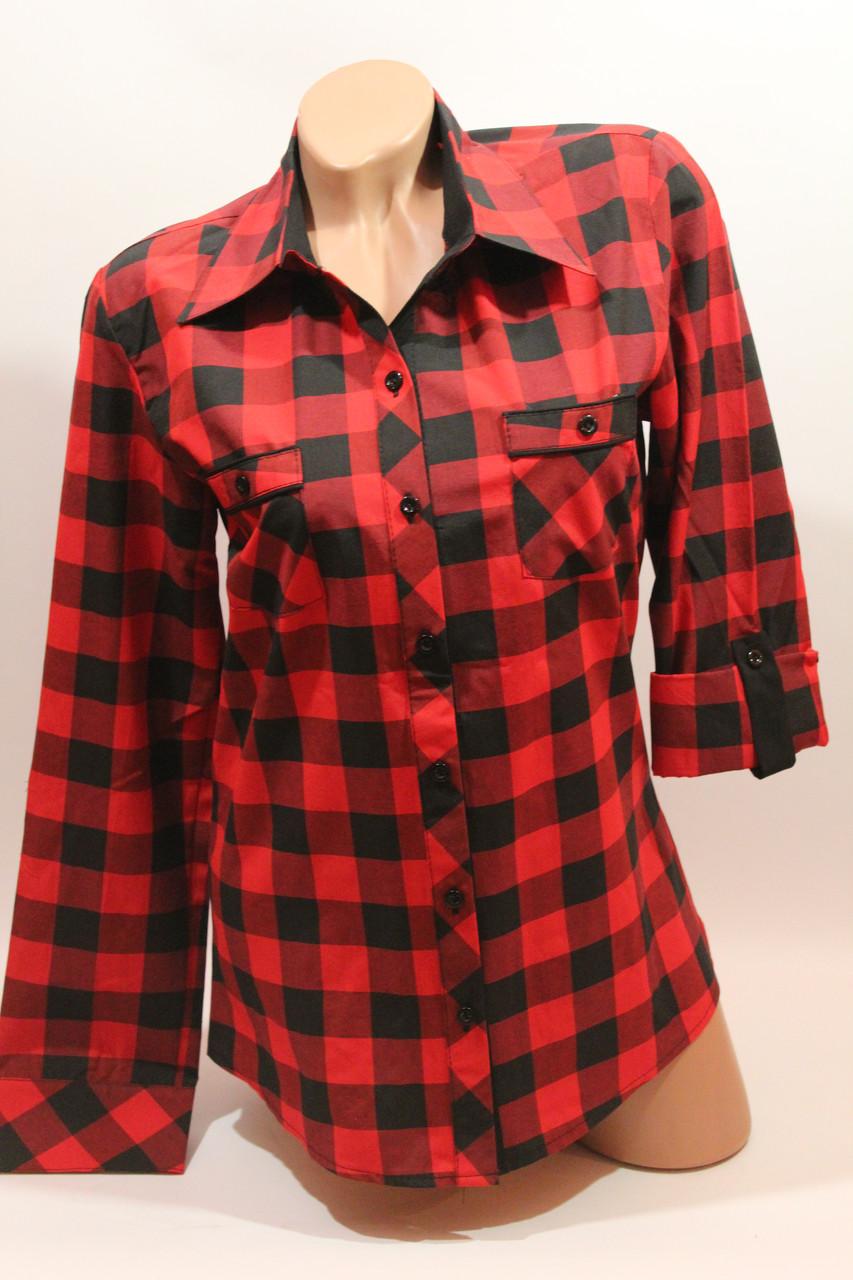 Женские рубашки в клетку с карманами оптом VSA красный+черный крупная