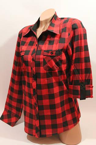 Женские рубашки в клетку с карманами оптом VSA красный+черный крупная, фото 2