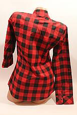 Женские рубашки в клетку с карманами оптом VSA красный+черный крупная, фото 3