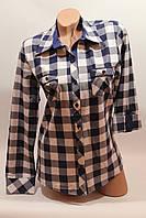 Женские рубашки в клетку с карманами оптом VSA белый+синий крупная