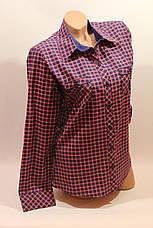 Женские рубашки в клетку с карманами оптом VSA розовый+синий мелкая, фото 2