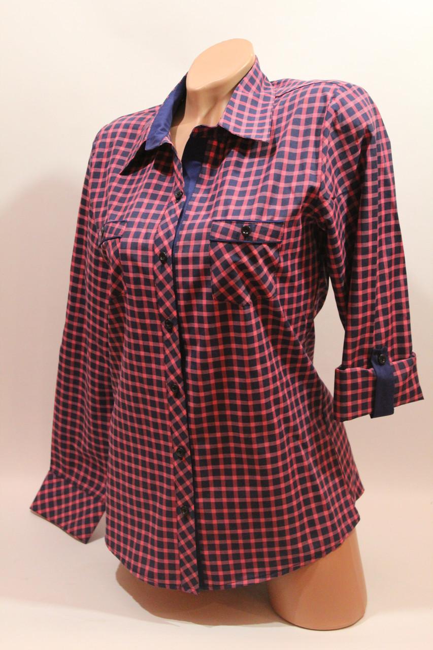 Женские рубашки в клетку с карманами оптом VSA розовый+синий мелкая