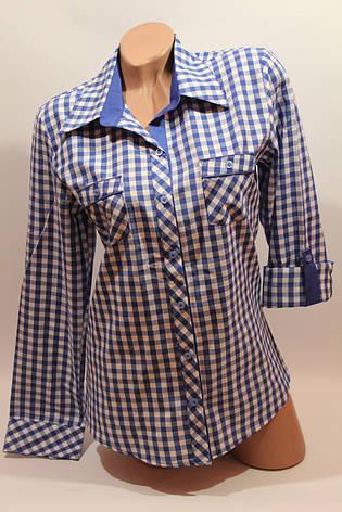 Женские рубашки в клетку с карманами оптом VSA белый+электрик мелкая, фото 2