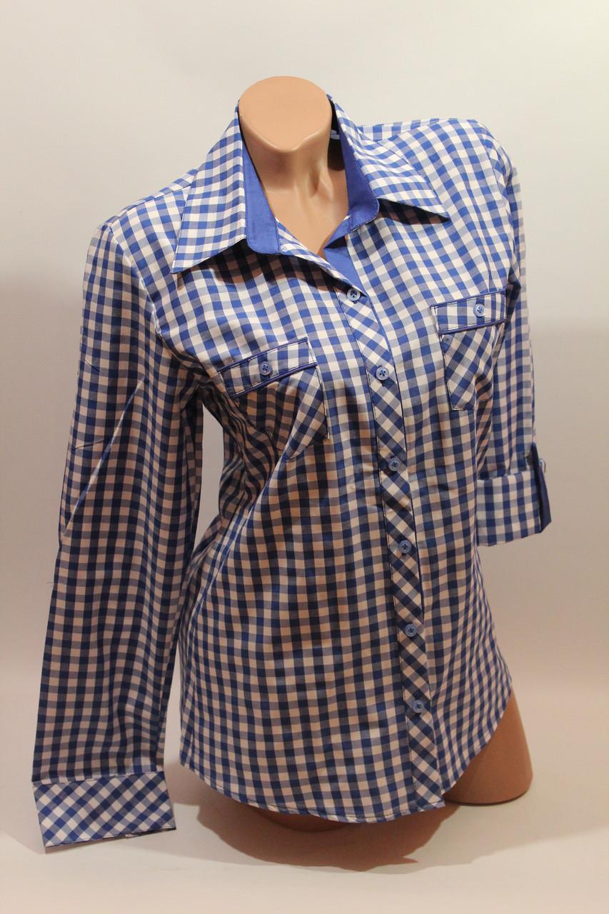 Женские рубашки в клетку с карманами оптом VSA белый+электрик мелкая