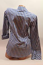 Женские рубашки в клетку с карманами оптом VSA белый+электрик мелкая, фото 3