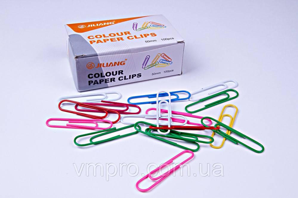 Скрепки канцелярские Jiliang разноцветные (50 мм/100 шт), скрепки для офиса, школы, дома.