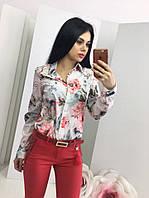 Женская рубашка креп-шифон цветочный принт