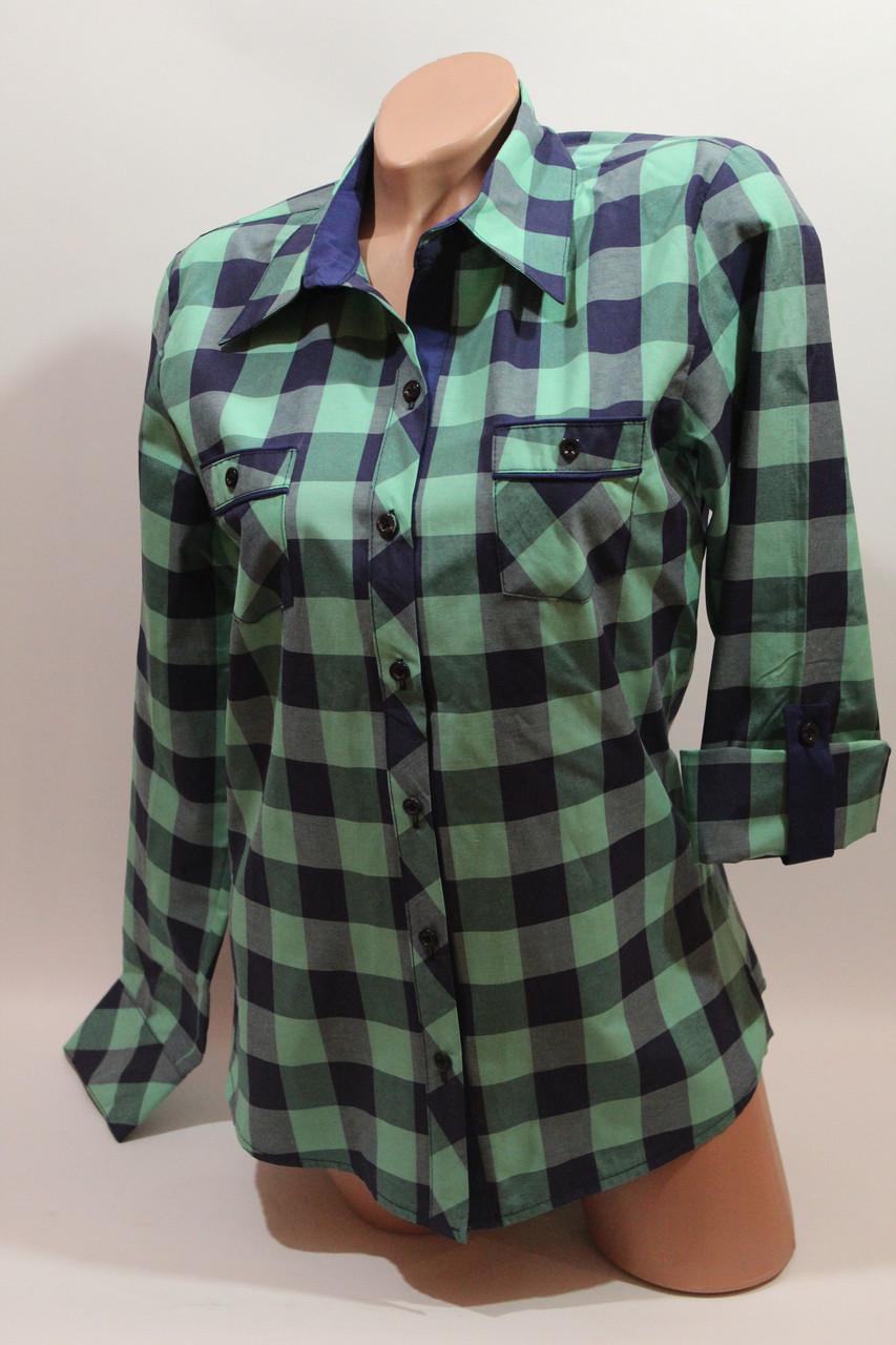 Женские рубашки в клетку с карманами оптом VSA зеленый+синий крупная