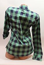 Женские рубашки в клетку с карманами оптом VSA зеленый+синий крупная, фото 3