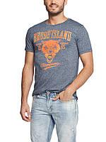 Мужская футболка LC Waikiki светло-синего цвета с надписью на груди Rhode Island