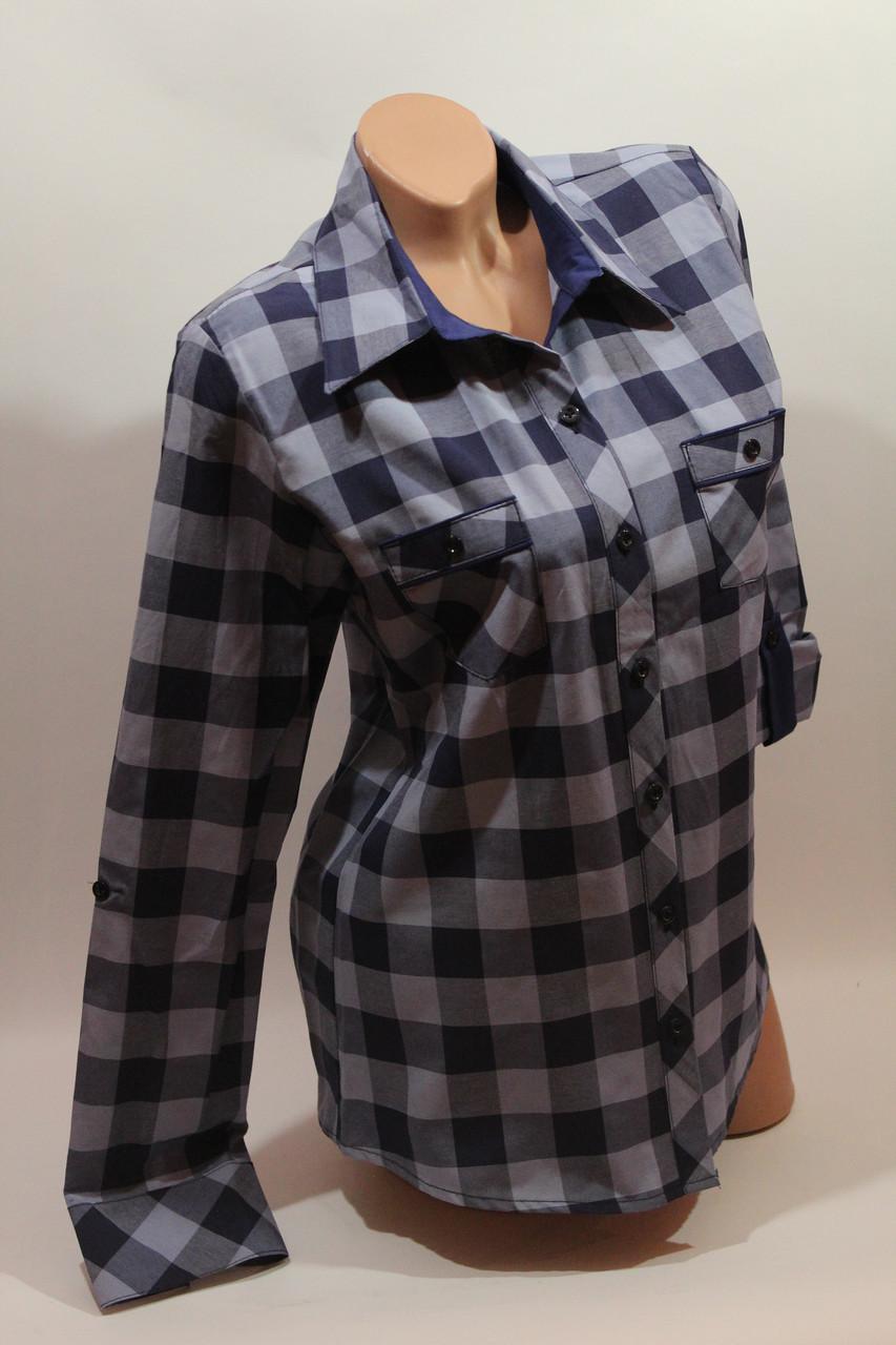 Женские рубашки в клетку с карманами оптом VSA джинс+синий крупная