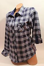 Женские рубашки в клетку с карманами оптом VSA джинс+синий крупная, фото 2