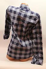 Женские рубашки в клетку с карманами оптом VSA джинс+синий крупная, фото 3