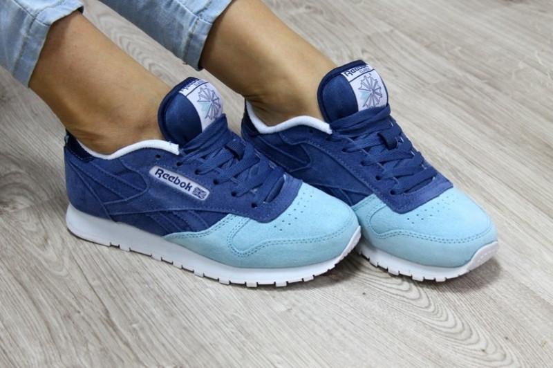 f96d7889ebca Подростковые кроссовки Reebok синие с бирюзой замшевые реплика + живые фото