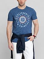 Мужская футболка LC Waikiki василькового цвета с надписью на груди California