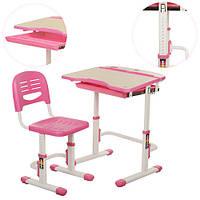Детская парта C 306-2 со стульчиком, розовая