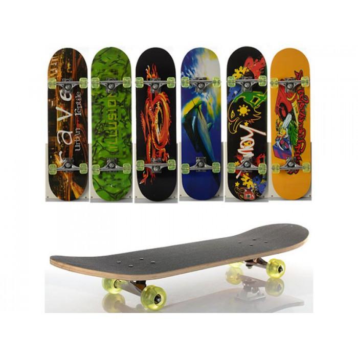 Скейт деревянный с металлическими подвесками разные расцветки