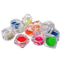 Набор фосфорного камня  для дизайна ногтей, 12 цветов в пластиковом контейнере
