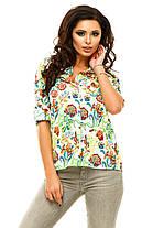 Ж175 Рубашка женская цветы в расцветках, фото 2