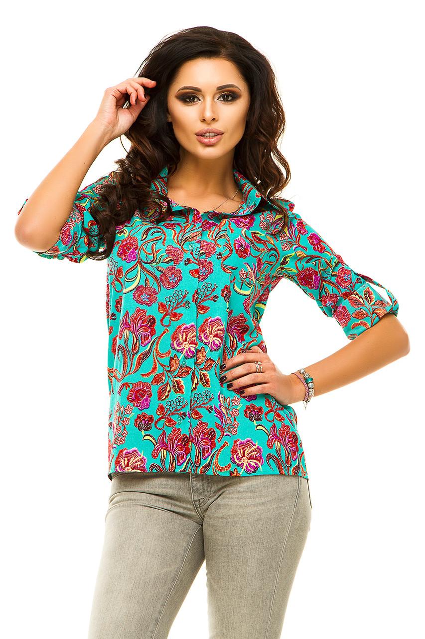 Ж175 Рубашка женская цветы в расцветках