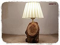 Настольный светильник натуральное дерево орех
