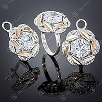 Серебряный набор украшений с цирконием. Артикул А-419