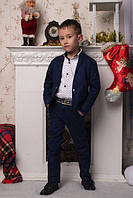 Льняной костюм для мальчиков брюки+пиджак темно-синий