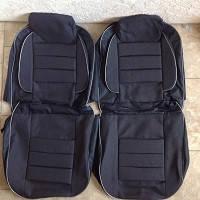 Чехлы модельные Pilot ВАЗ 2103/06 кожзам черный + ткань темно- серая, подголовники съемные