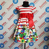 Детское платье на девочку  под пояс с бантом Bolbino ПОЛЬША
