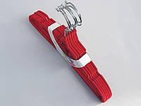 Плечики вешалки детские флокированные (бархатные, велюровые) красного цвета,длина 32,5 см, в упаковке 6 штук