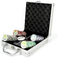 Покерный набор на 100 фишек с номиналом и пластиковыми картами Pocker Club
