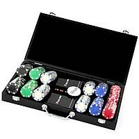 Покерный набор на 300 фишек и пластиковые игральные карты Poker Club