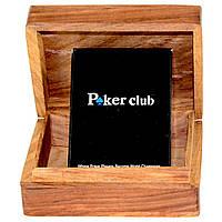 Пластиковые игральные карты Poker club в деревянном футляре WB-109B