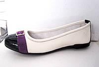 Балетки туфли женские кожа+замш белые 36 - 41 р, фото 1