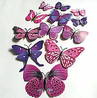 Декоративные бабочки на магните и липучке 12шт фиолетовые