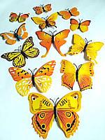 Бабочки на холодильник магнит и липучка 12шт желтые