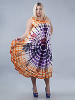 Сарафан-разлетайка на кокетке фиолетово-оранжевый спальмами, на 50-56 размеры