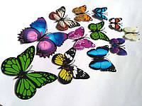 Декоративные бабочки на магните и липучке 12шт ассорти