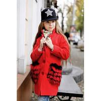 Пальто для девочки кашемировое стильное Пушинка дет красное,детская одежда