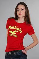 Женская футболка (реплика) Hollister красного цвета
