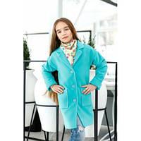 Пальто для девочки кашемировое стильное Нежность мята,детская одежда