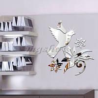 Зеркало зеркальная птичка цветы декор интерьера квартиры комнаты пластиковые зеркала
