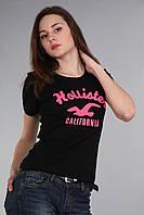 Стильная женская футболка с коротким рукавом (реплика) Hollister черного цвета