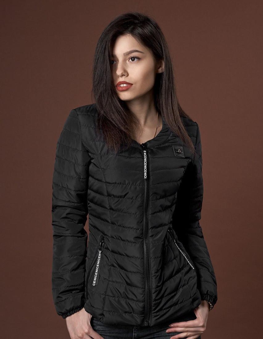 225895fb8279 Стильная женская демисезонная куртка на синтепоне черная  продажа ...