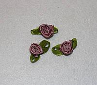 Атласная розочка с листиками сливовая 779 упаковка 10 шт, фото 1