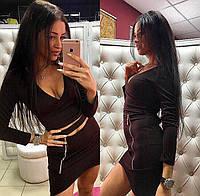 Женский модный костюм с молнией: топ и юбка (4 цвета) черный, S