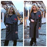 Женское модное пальто-накидка с вышивкой из буклированного твида