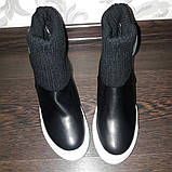 Чёрные сникерсы с белой подошвой 38р маломерят на размер, фото 3